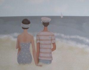 Paar am Meer Zeichnung